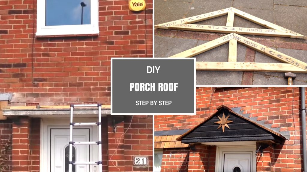 Diy porch roof building a simple pitched roof step by for Building a house step by step