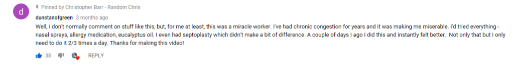 Comment from YouTube viewer