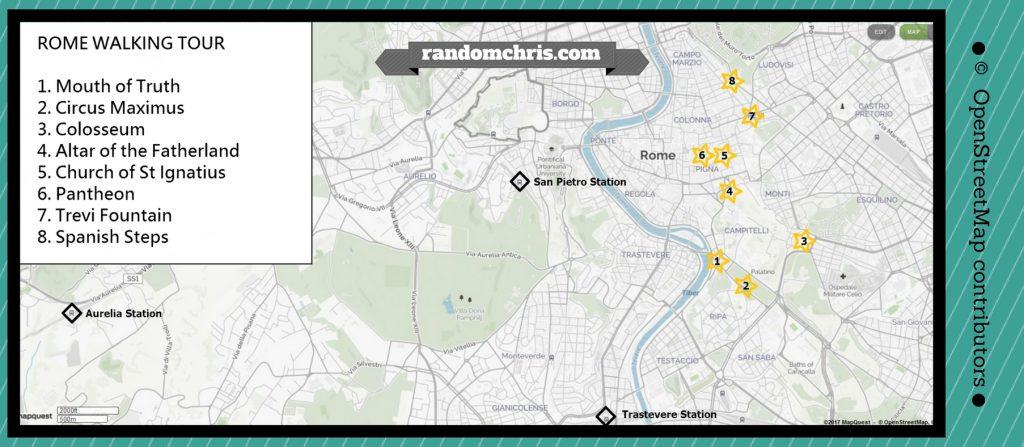 Rome walking tour map free